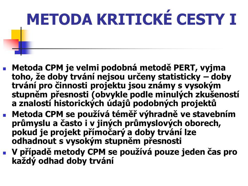 METODA KRITICKÉ CESTY I Metoda CPM je velmi podobná metodě PERT, vyjma toho, že doby trvání nejsou určeny statisticky – doby trvání pro činnosti proje