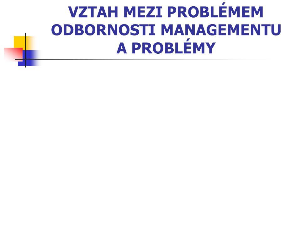 VZTAH MEZI PROBLÉMEM ODBORNOSTI MANAGEMENTU A PROBLÉMY