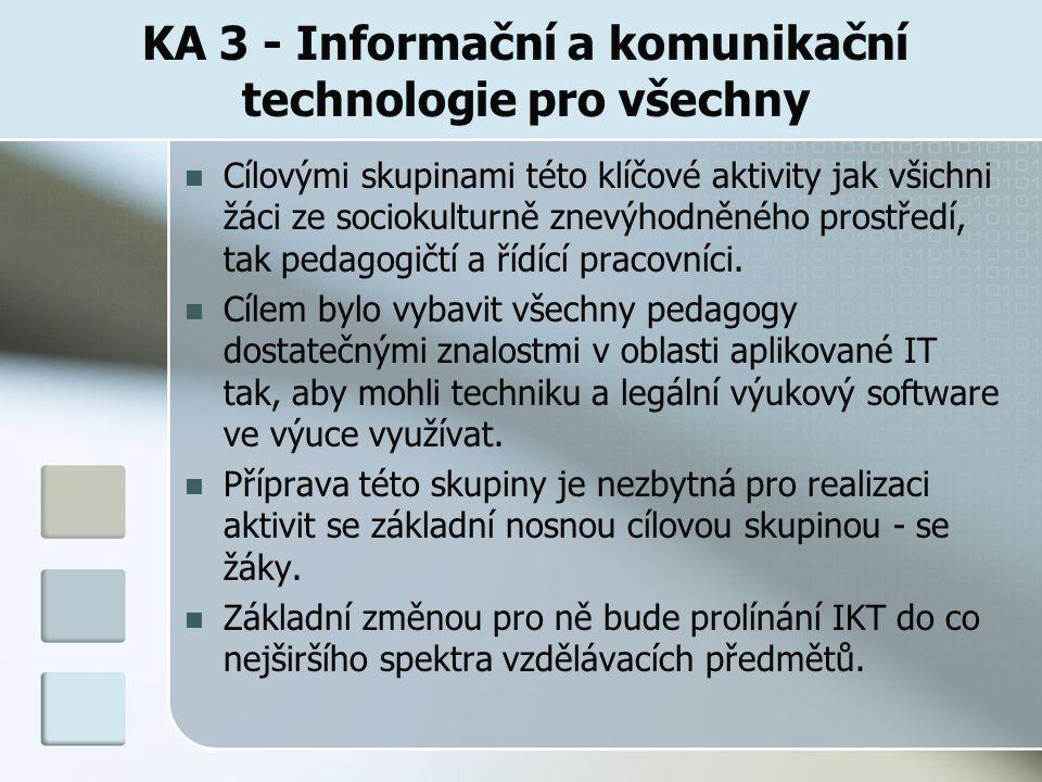 KA 3 - Informační a komunikační technologie pro všechny Cílovými skupinami této klíčové aktivity jak všichni žáci ze sociokulturně znevýhodněného prostředí, tak pedagogičtí a řídící pracovníci.