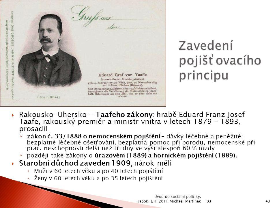  Rakousko-Uhersko - Taafeho zákony: hrabě Eduard Franz Josef Taafe, rakouský premiér a ministr vnitra v letech 1879 – 1893, prosadil ◦ zákon č. 33/18