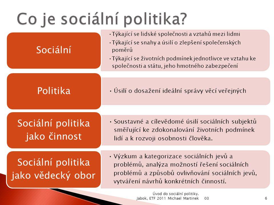 03 Úvod do sociální politiky. Jabok, ETF 2011 Michael Martinek6 Týkající se lidské společnosti a vztahů mezi lidmi Týkající se snahy a úsilí o zlepšen