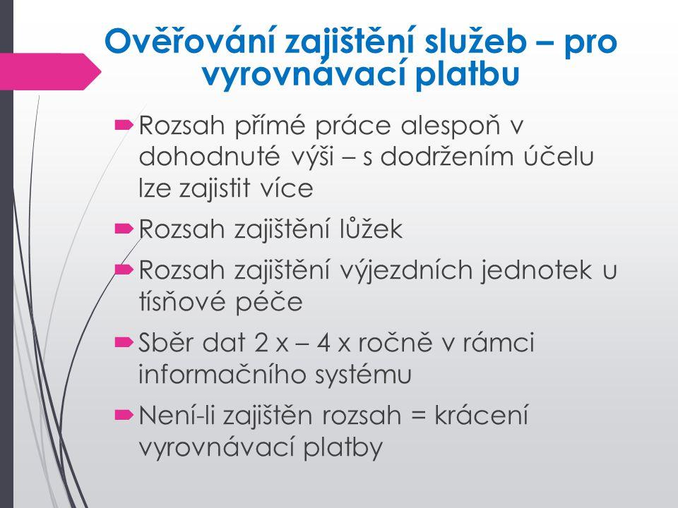  Rozsah přímé práce alespoň v dohodnuté výši – s dodržením účelu lze zajistit více  Rozsah zajištění lůžek  Rozsah zajištění výjezdních jednotek u
