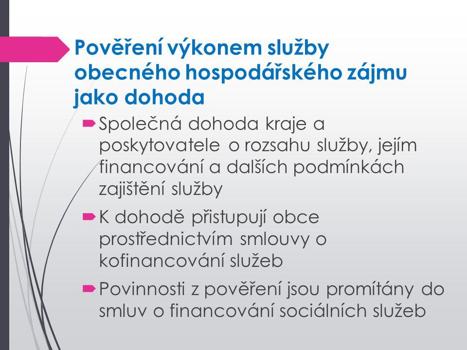 Pověření výkonem služby obecného hospodářského zájmu jako dohoda  Společná dohoda kraje a poskytovatele o rozsahu služby, jejím financování a dalších