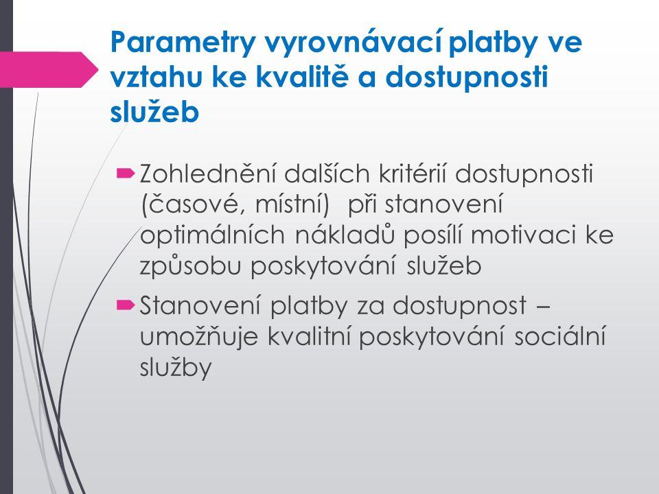 Parametry vyrovnávací platby ve vztahu ke kvalitě a dostupnosti služeb  Zohlednění dalších kritérií dostupnosti (časové, místní) při stanovení optimá