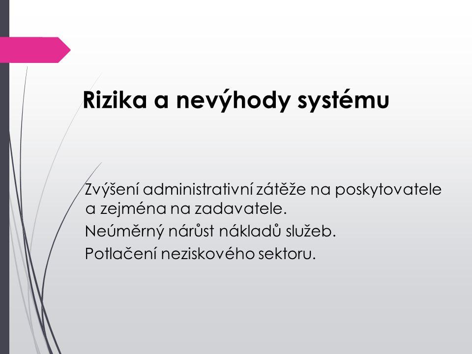 Rizika a nevýhody systému Zvýšení administrativní zátěže na poskytovatele a zejména na zadavatele. Neúměrný nárůst nákladů služeb. Potlačení neziskové