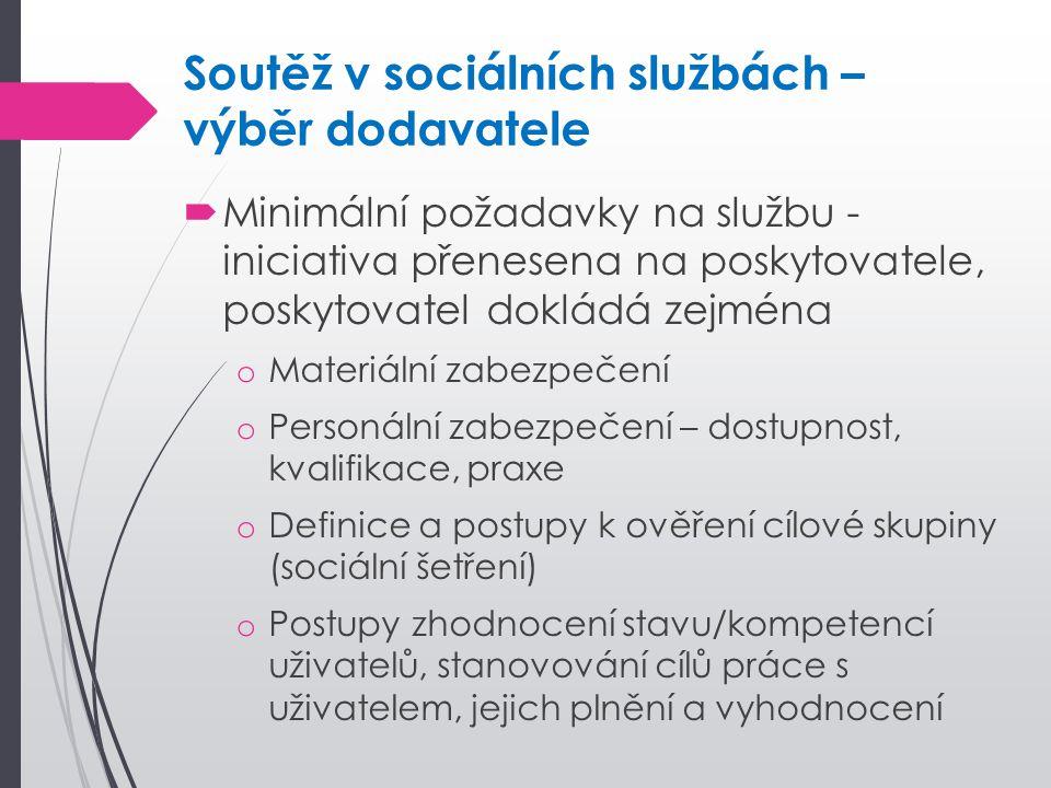 Soutěž v sociálních službách – výběr dodavatele  Minimální požadavky na službu - iniciativa přenesena na poskytovatele, poskytovatel dokládá zejména