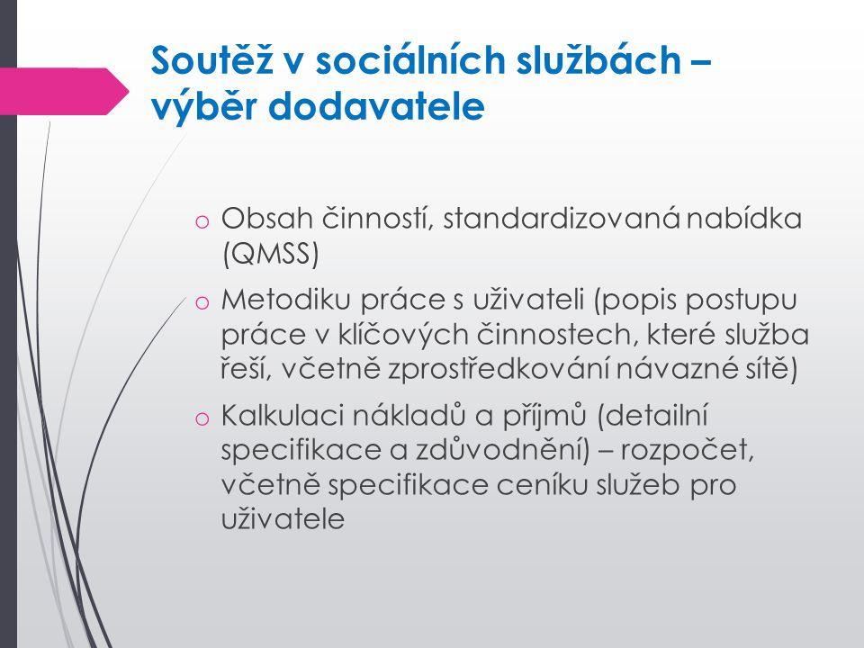 Soutěž v sociálních službách – výběr dodavatele o Obsah činností, standardizovaná nabídka (QMSS) o Metodiku práce s uživateli (popis postupu práce v k