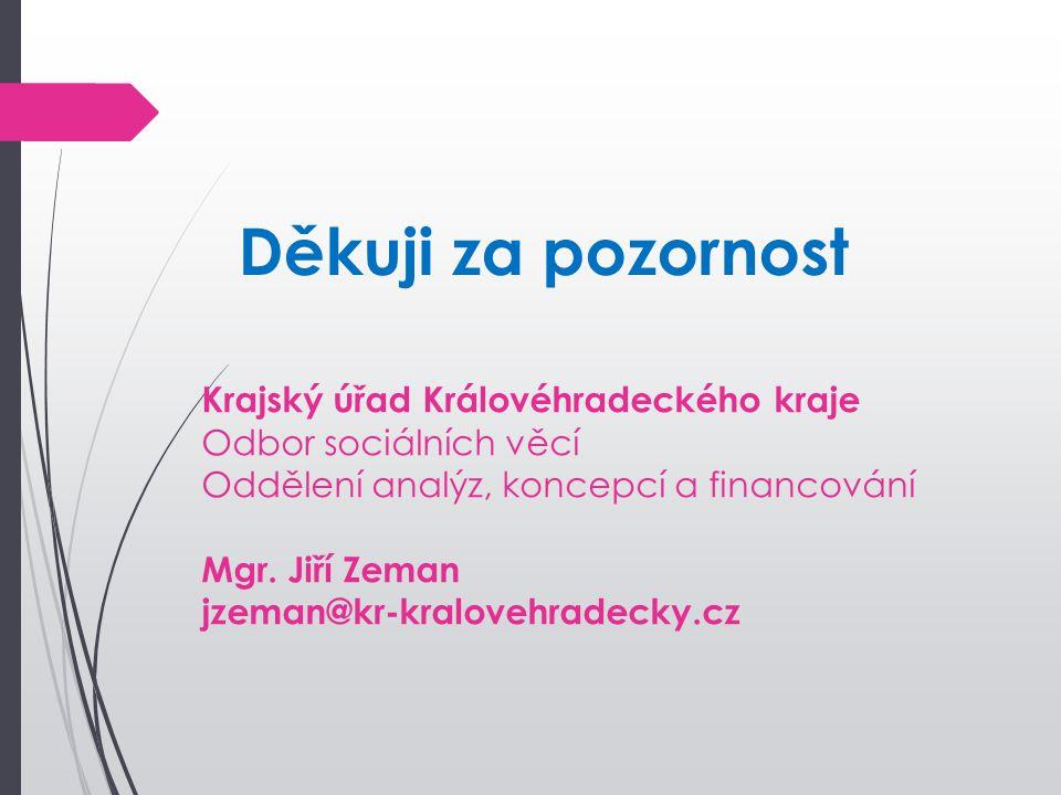 Děkuji za pozornost Krajský úřad Královéhradeckého kraje Odbor sociálních věcí Oddělení analýz, koncepcí a financování Mgr. Jiří Zeman jzeman@kr-kralo