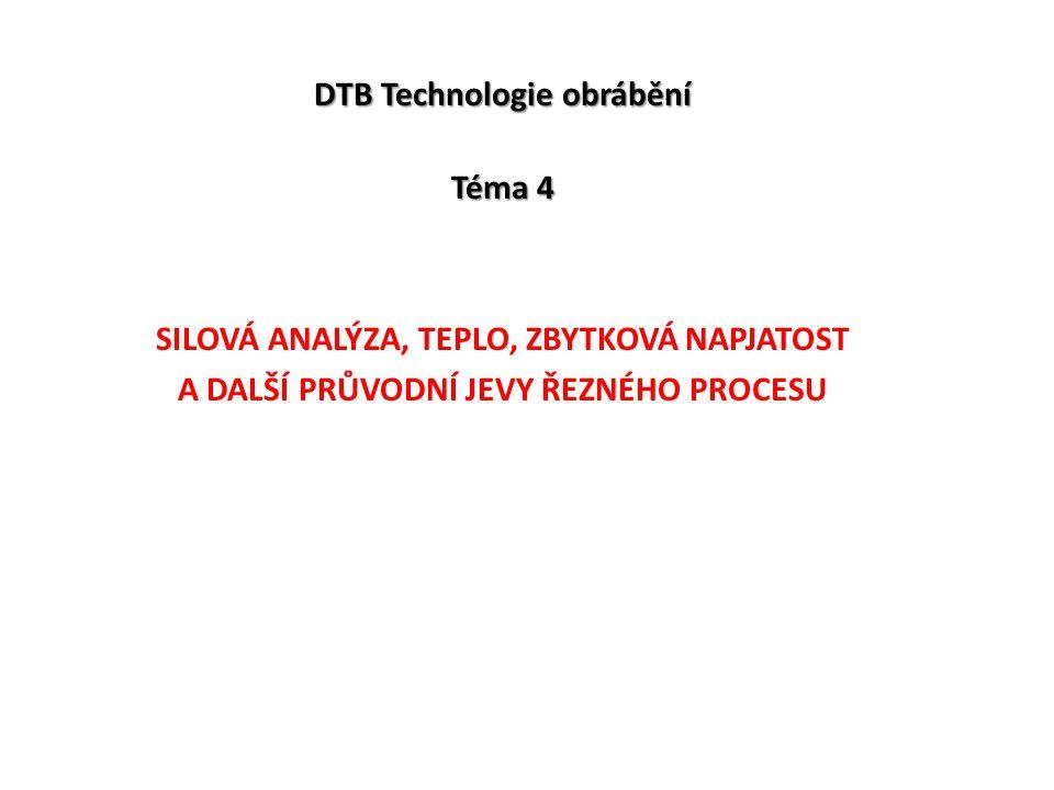 DTB Technologie obrábění Téma 4 SILOVÁ ANALÝZA, TEPLO, ZBYTKOVÁ NAPJATOST A DALŠÍ PRŮVODNÍ JEVY ŘEZNÉHO PROCESU