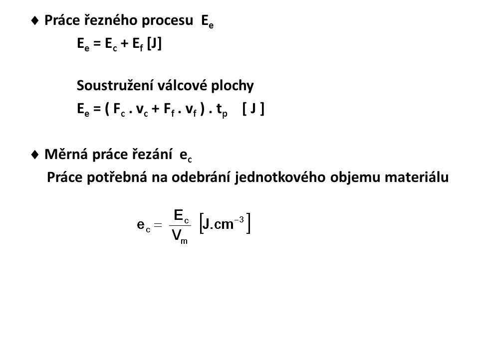  Práce řezného procesu E e E e = E c + E f [J] Soustružení válcové plochy E e = ( F c. v c + F f. v f ). t p [ J ]  Měrná práce řezání e c Práce pot