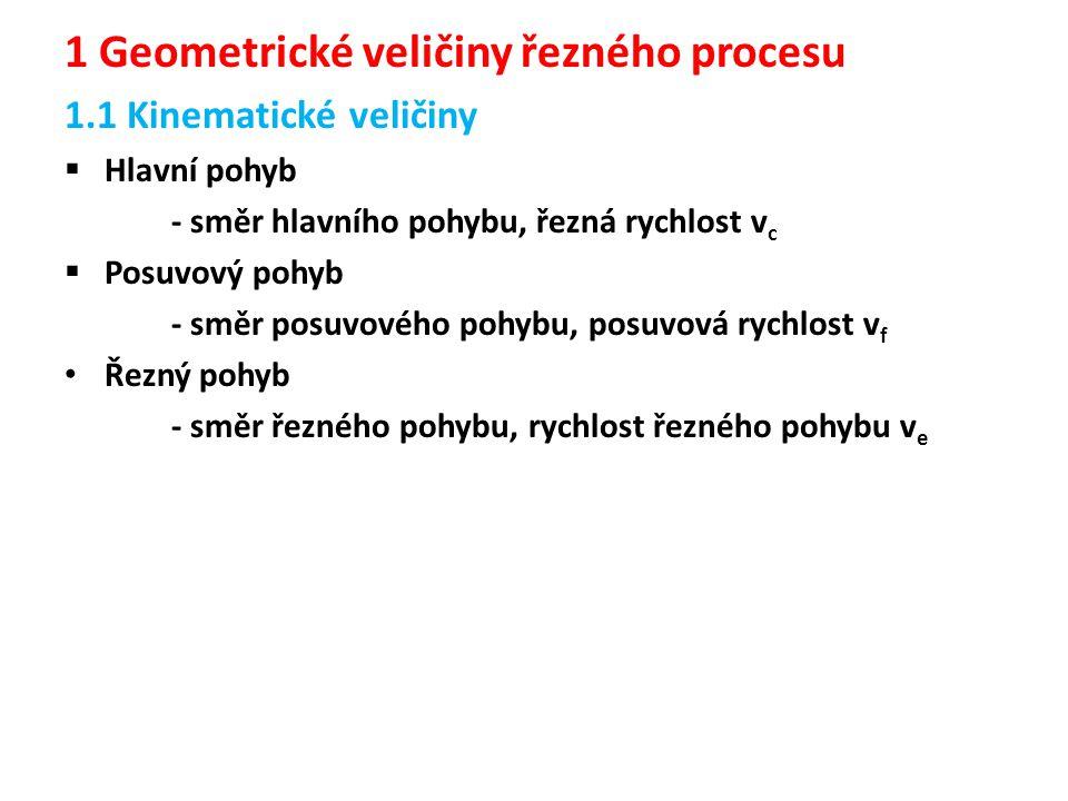 1 Geometrické veličiny řezného procesu 1.1 Kinematické veličiny  Hlavní pohyb - směr hlavního pohybu, řezná rychlost v c  Posuvový pohyb - směr posu