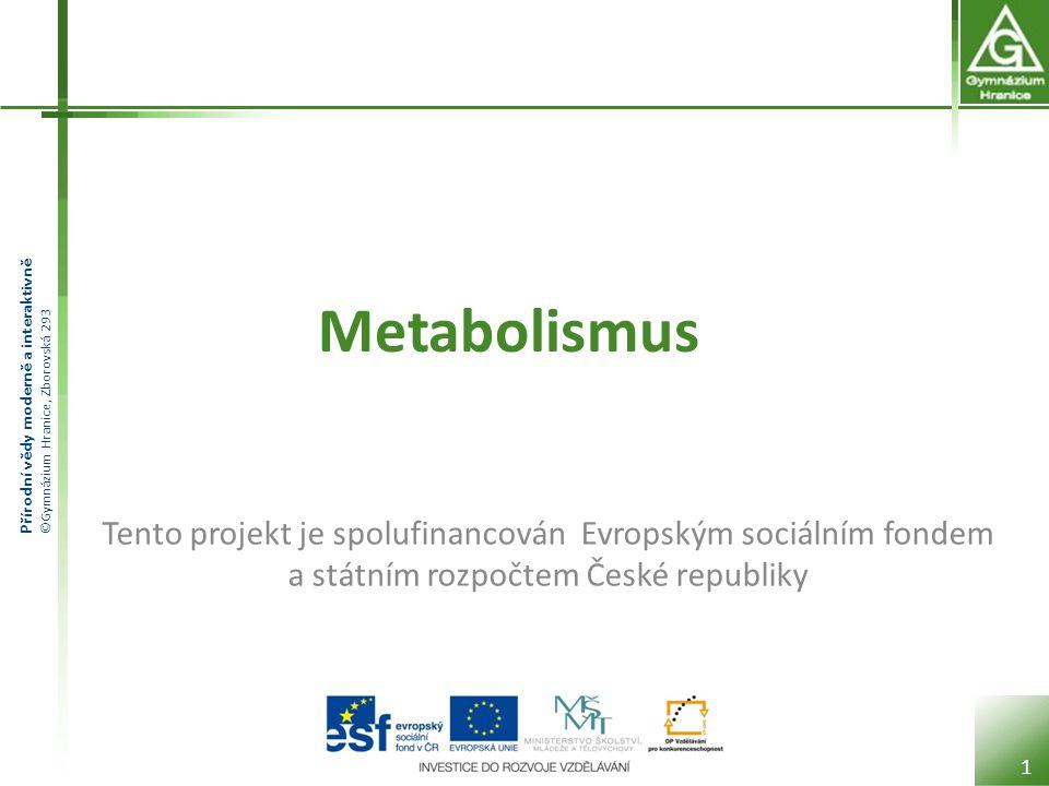 Přírodní vědy moderně a interaktivně ©Gymnázium Hranice, Zborovská 293 Metabolismus 1 Tento projekt je spolufinancován Evropským sociálním fondem a st