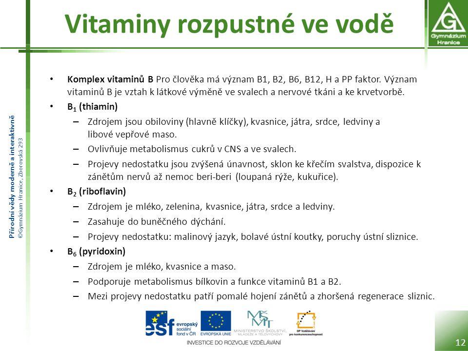 Přírodní vědy moderně a interaktivně ©Gymnázium Hranice, Zborovská 293 Vitaminy rozpustné ve vodě Komplex vitaminů B Pro člověka má význam B1, B2, B6,