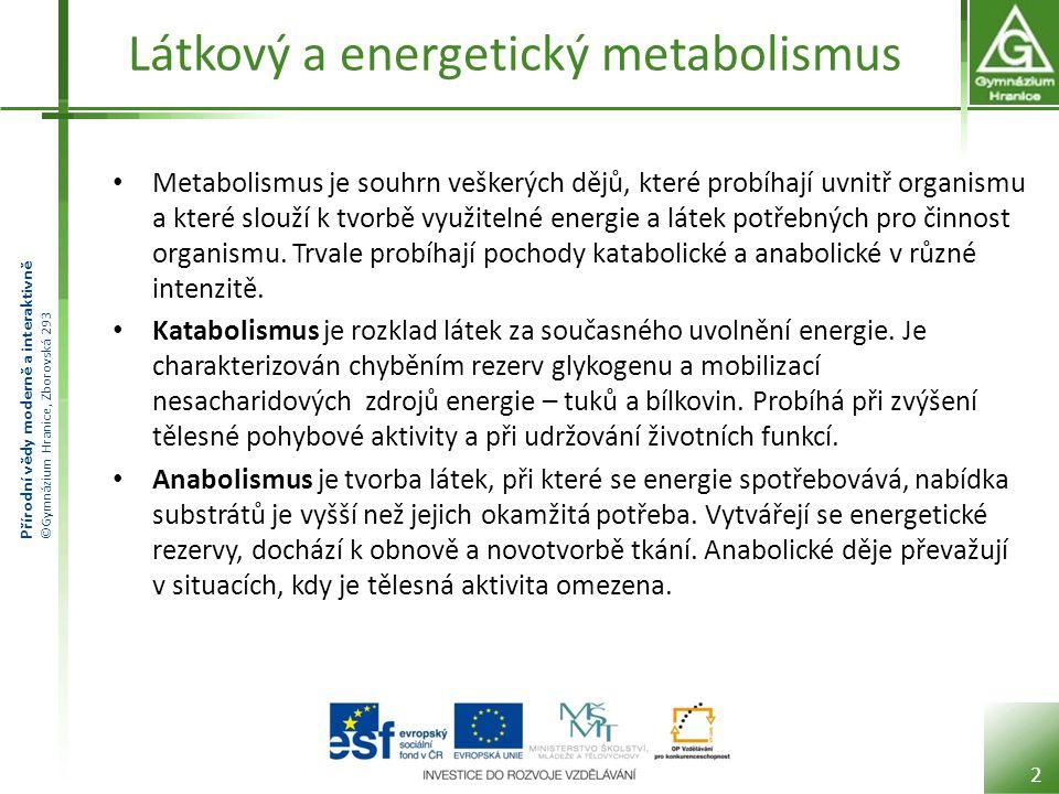 Přírodní vědy moderně a interaktivně ©Gymnázium Hranice, Zborovská 293 Látkový a energetický metabolismus Metabolismus je souhrn veškerých dějů, které