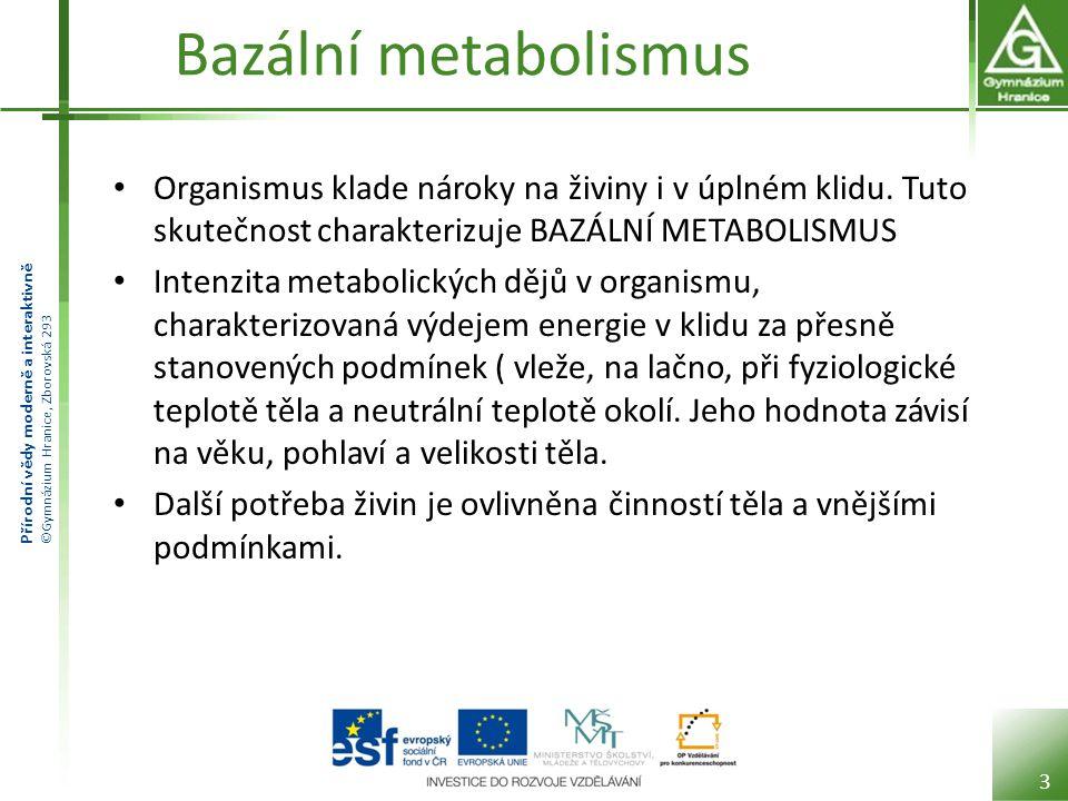 Přírodní vědy moderně a interaktivně ©Gymnázium Hranice, Zborovská 293 Bazální metabolismus Organismus klade nároky na živiny i v úplném klidu. Tuto s