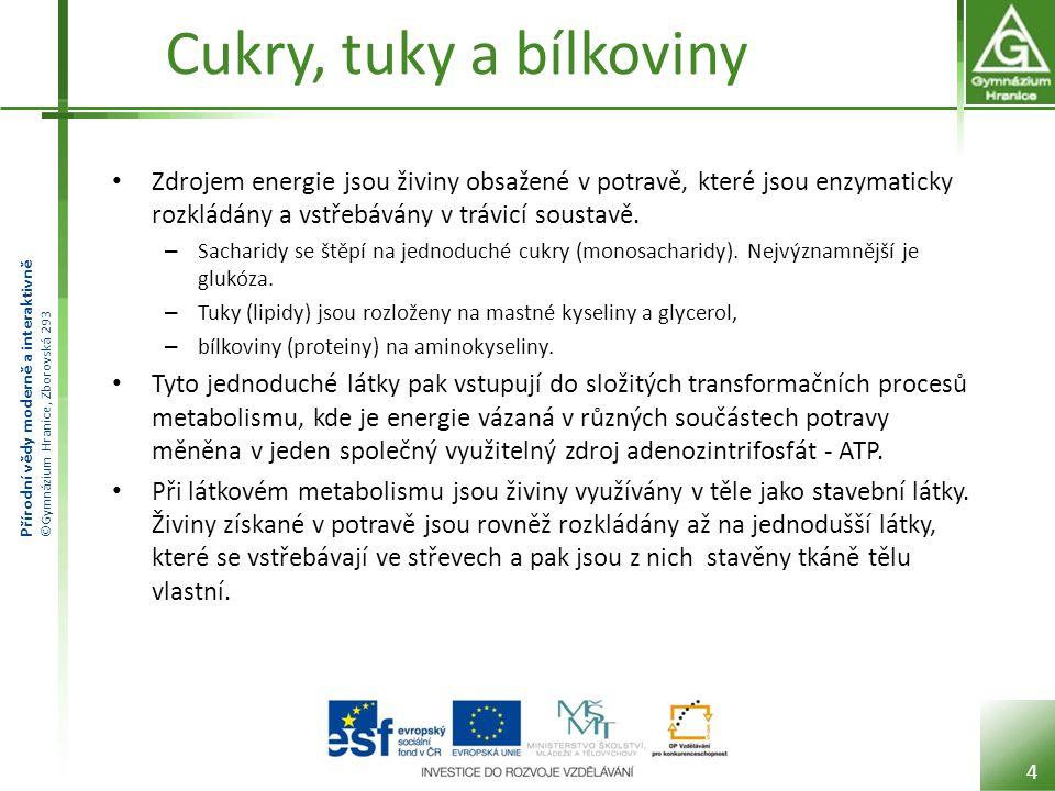 Přírodní vědy moderně a interaktivně ©Gymnázium Hranice, Zborovská 293 Cukry, tuky a bílkoviny Zdrojem energie jsou živiny obsažené v potravě, které j
