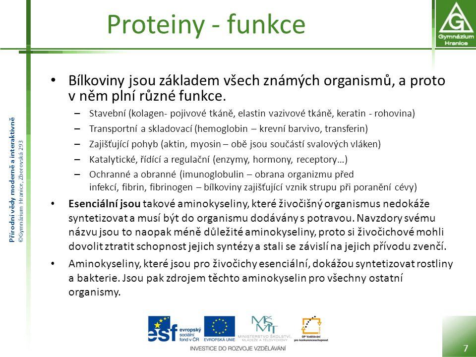 Přírodní vědy moderně a interaktivně ©Gymnázium Hranice, Zborovská 293 Proteiny - funkce Bílkoviny jsou základem všech známých organismů, a proto v ně