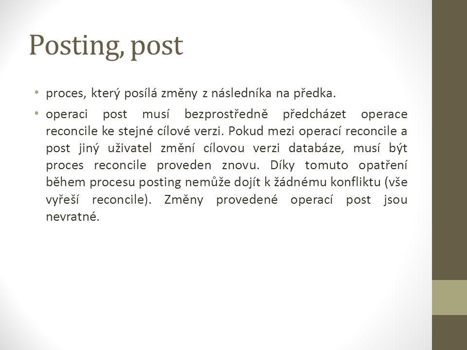 Posting, post proces, který posílá změny z následníka na předka. operaci post musí bezprostředně předcházet operace reconcile ke stejné cílové verzi.