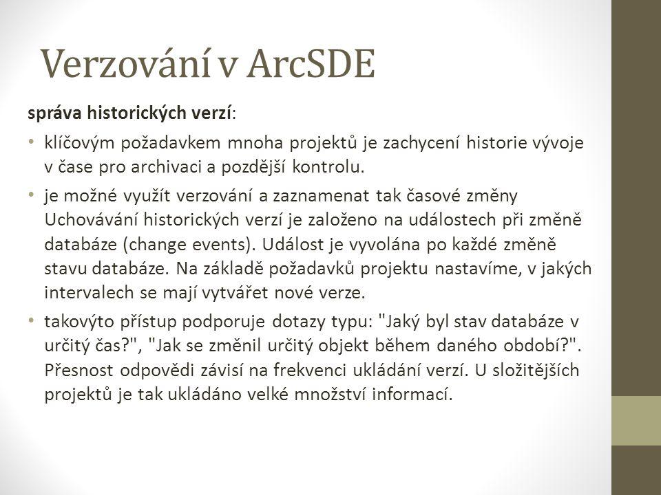 Verzování v ArcSDE správa historických verzí: klíčovým požadavkem mnoha projektů je zachycení historie vývoje v čase pro archivaci a pozdější kontrolu.