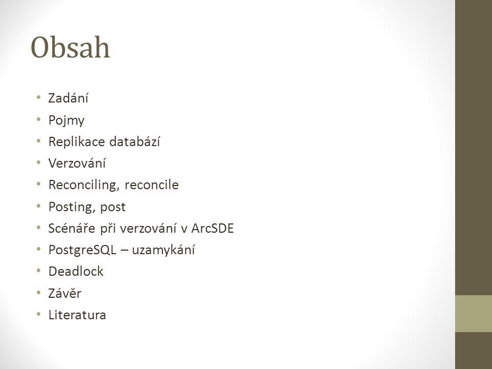 Obsah Zadání Pojmy Replikace databází Verzování Reconciling, reconcile Posting, post Scénáře při verzování v ArcSDE PostgreSQL – uzamykání Deadlock Zá