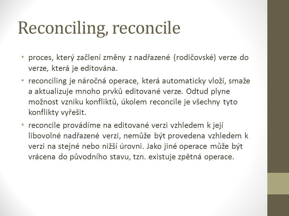 Reconciling, reconcile proces, který začlení změny z nadřazené (rodičovské) verze do verze, která je editována. reconciling je náročná operace, která