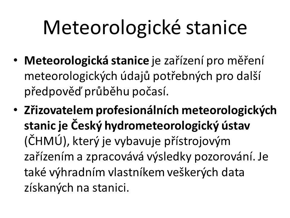 Meteorologické stanice Typy: Pozemní – Synoptické – Klimatologické – Srážkoměrné – Letecké – sledování počasí pro letecké potřeby – Další – nespadají pod ČHMÚ Silniční - slouží pro potřeby zimní údržby komunikací, pro informování účastníků silničního provozu, zahrnují vozovkové senzory, které detekují stav a teplotu povrchu vozovky Silničních meteostanic je v ČR zhruba 400 (2011) a většinu z nich vlastní ŘSD ČR Amatérské - lidé se zájmem o meteorologii (amatérští pozorovatelé počasí).