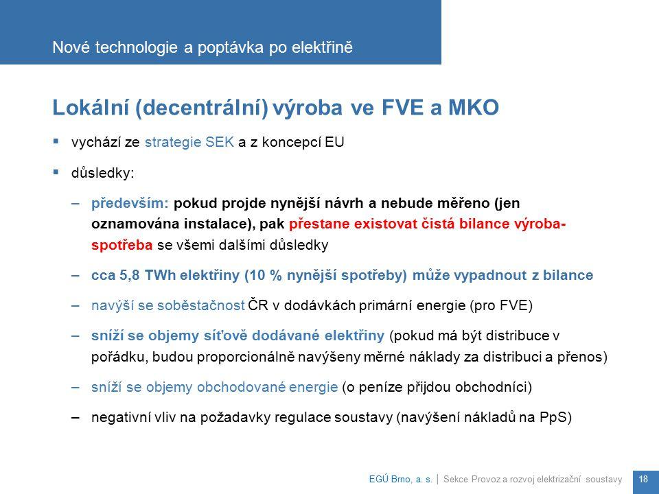 Lokální (decentrální) výroba ve FVE a MKO  vychází ze strategie SEK a z koncepcí EU  důsledky: –především: pokud projde nynější návrh a nebude měřen