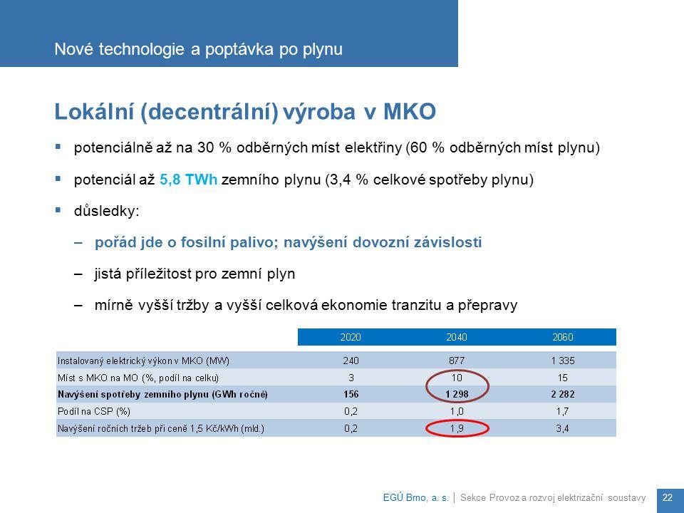 Lokální (decentrální) výroba v MKO  potenciálně až na 30 % odběrných míst elektřiny (60 % odběrných míst plynu)  potenciál až 5,8 TWh zemního plynu