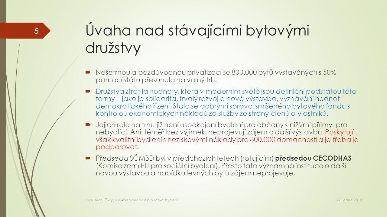 Úvaha nad stávajícími bytovými družstvy  Nešetrnou a bezdůvodnou privatizací se 800.000 bytů vystavěných s 50% pomocí státu přesunula na volný trh.