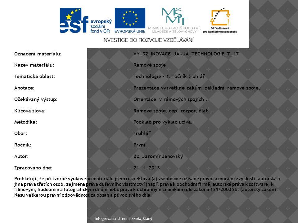 Zdroje: 2 / 4/ http://prace-se-drevem.spibi.cz/Drevo- Spoje-RScepRozpor.htmlhttp://prace-se-drevem.spibi.cz/Drevo- Spoje-RScepRozpor.html 3/http://www.jilova.cz/index.php?co=obory&k do=&obor=dk&akce=predmety&predmet=konstr ukcehttp://www.jilova.cz/index.php?co=obory&k do=&obor=dk&akce=predmety&predmet=konstr ukce Integrovaná střední škola,Slaný