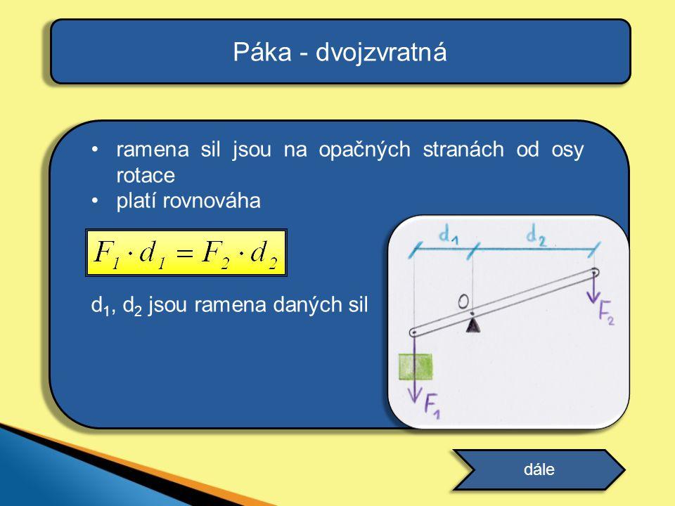 ramena sil jsou na opačných stranách od osy rotace platí rovnováha d 1, d 2 jsou ramena daných sil Páka - dvojzvratná dále