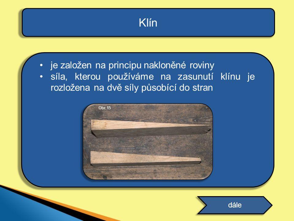 je založen na principu nakloněné roviny síla, kterou používáme na zasunutí klínu je rozložena na dvě síly působící do stran Klín dále Obr.15