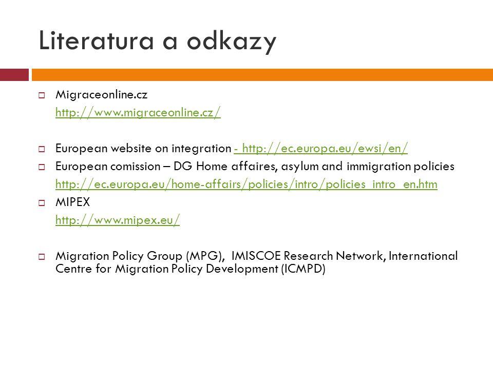 Literatura a odkazy  Migraceonline.cz http://www.migraceonline.cz/  European website on integration - http://ec.europa.eu/ewsi/en/- http://ec.europa