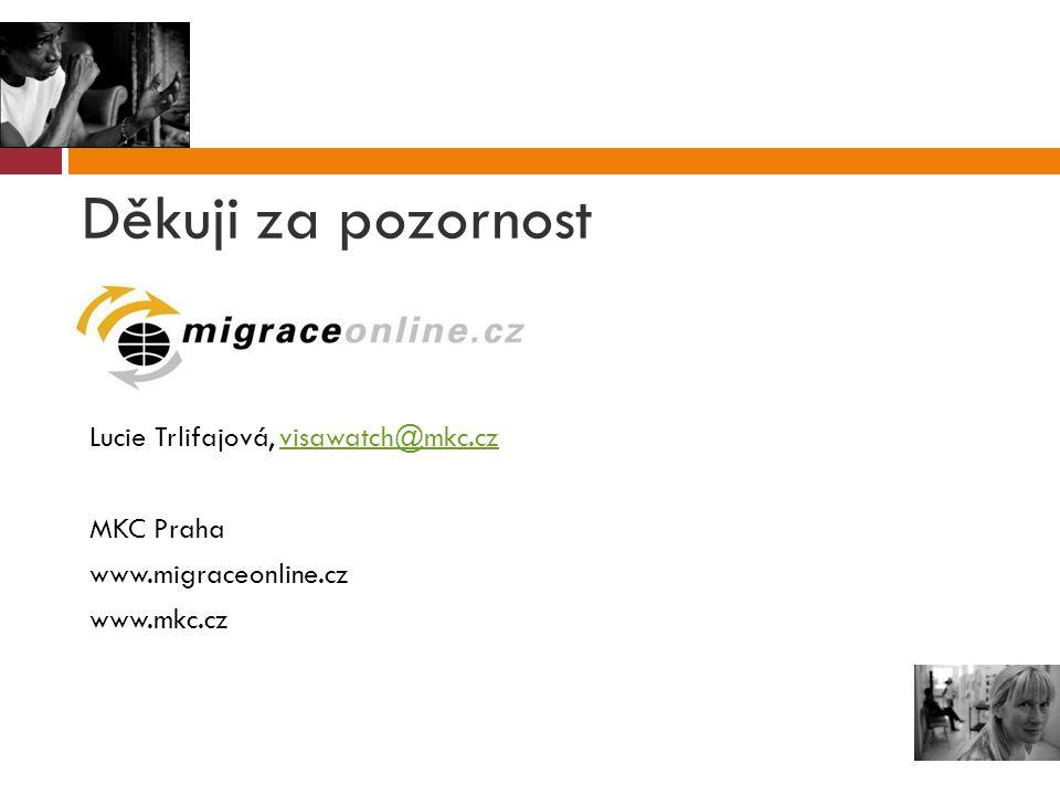 Děkuji za pozornost Lucie Trlifajová, visawatch@mkc.czvisawatch@mkc.cz MKC Praha www.migraceonline.cz www.mkc.cz