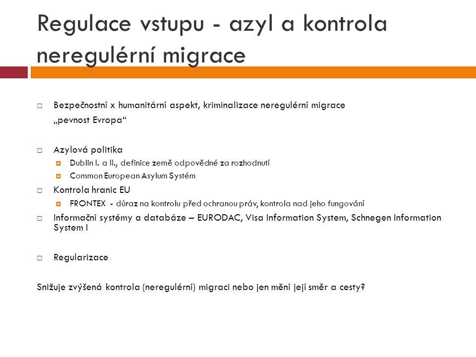 """Regulace vstupu - azyl a kontrola neregulérní migrace  Bezpečnostní x humanitární aspekt, kriminalizace neregulérní migrace """"pevnost Evropa""""  Azylov"""