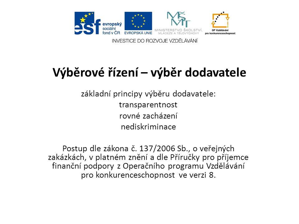Výběrové řízení – výběr dodavatele základní principy výběru dodavatele: transparentnost rovné zacházení nediskriminace Postup dle zákona č. 137/2006 S