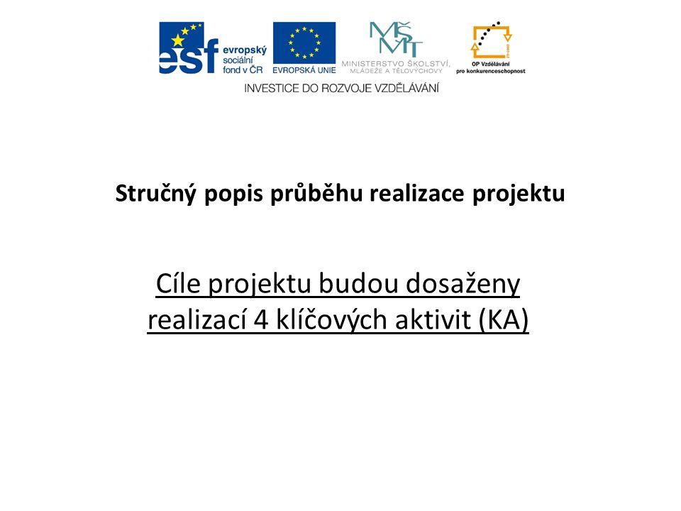 Stručný popis průběhu realizace projektu Cíle projektu budou dosaženy realizací 4 klíčových aktivit (KA)