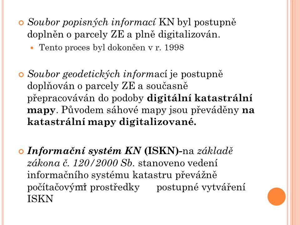 Soubor popisných informací KN byl postupně doplněn o parcely ZE a plně digitalizován. Tento proces byl dokončen v r. 1998 Soubor geodetických inform a