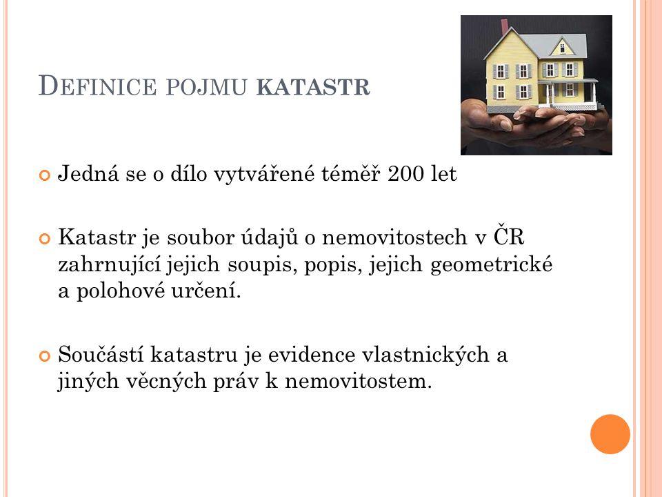 D EFINICE POJMU KATASTR Jedná se o dílo vytvářené téměř 200 let Katastr je soubor údajů o nemovitostech v ČR zahrnující jejich soupis, popis, jejich g