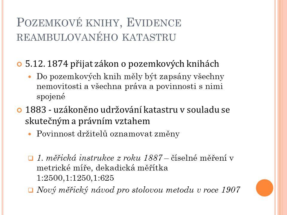 P OZEMKOVÉ KNIHY, E VIDENCE REAMBULOVANÉHO KATASTRU 5.12. 1874 přijat zákon o pozemkových knihách Do pozemkových knih měly být zapsány všechny nemovit