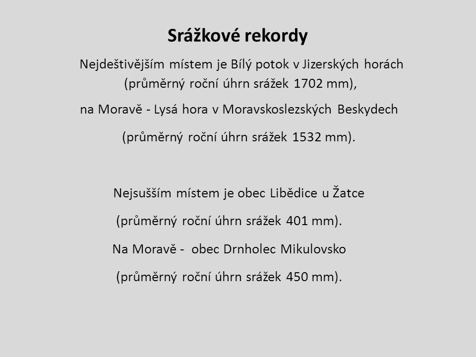 Srážkové rekordy Nejdeštivějším místem je Bílý potok v Jizerských horách (průměrný roční úhrn srážek 1702 mm), na Moravě - Lysá hora v Moravskoslezských Beskydech (průměrný roční úhrn srážek 1532 mm).