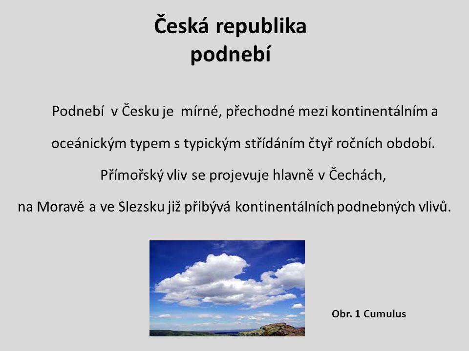 Česká republika podnebí Podnebí v Česku je mírné, přechodné mezi kontinentálním a oceánickým typem s typickým střídáním čtyř ročních období.