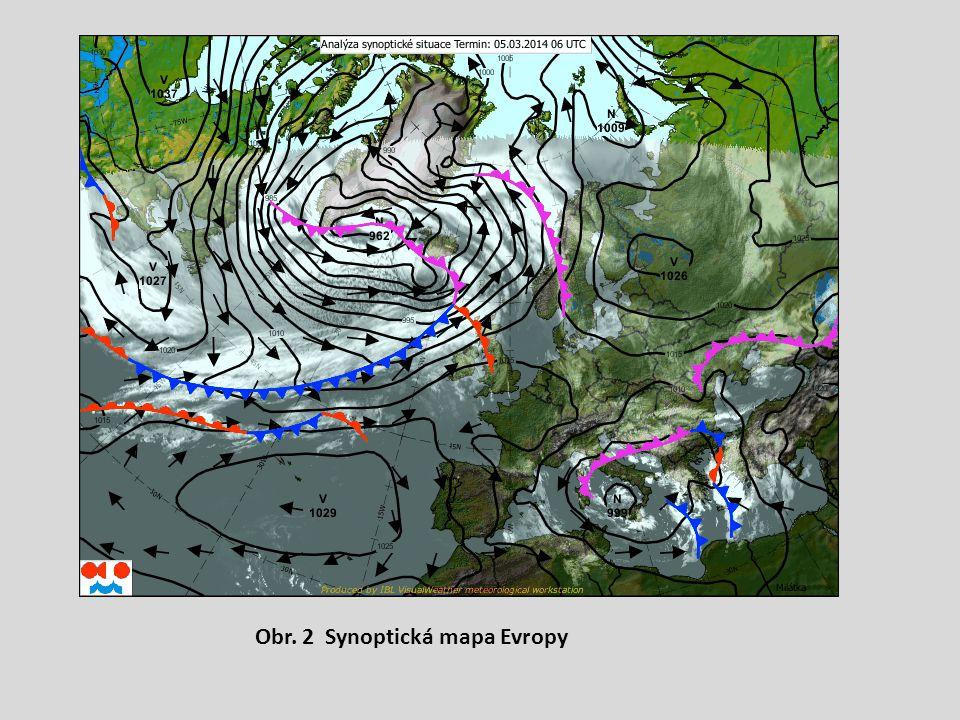 Obr. 2 Synoptická mapa Evropy