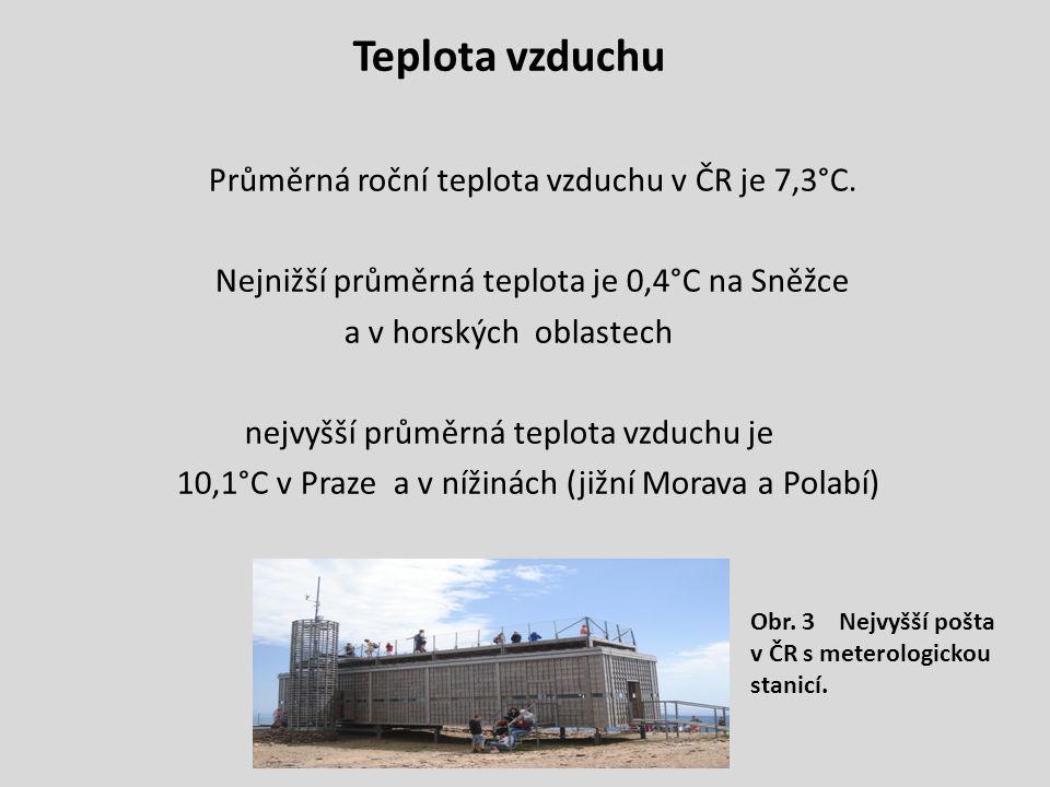 Teplota vzduchu Průměrná roční teplota vzduchu v ČR je 7,3°C.