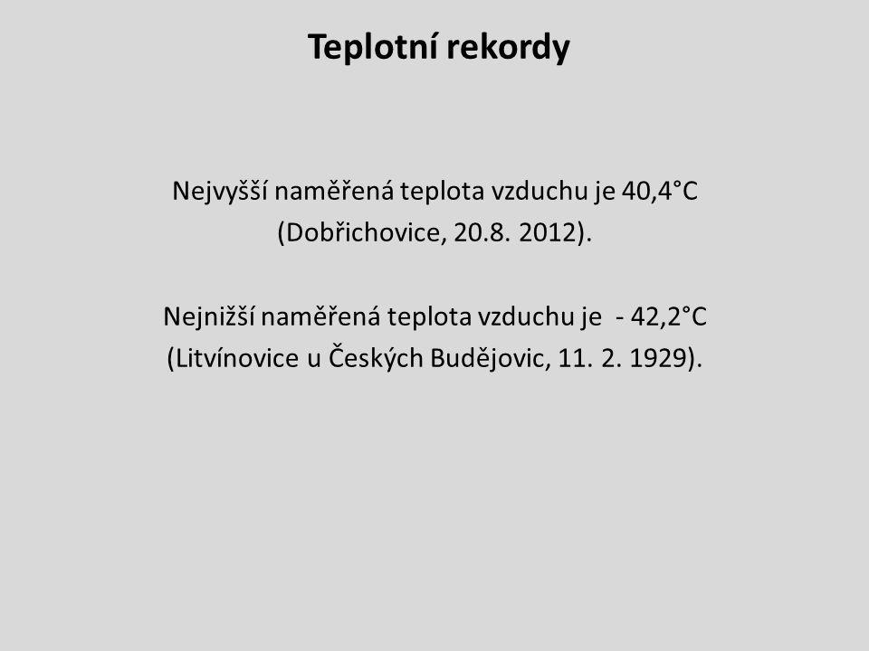 Teplotní rekordy Nejvyšší naměřená teplota vzduchu je 40,4°C (Dobřichovice, 20.8.