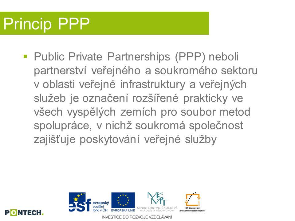 Princip PPP  Public Private Partnerships (PPP) neboli partnerství veřejného a soukromého sektoru v oblasti veřejné infrastruktury a veřejných služeb je označení rozšířené prakticky ve všech vyspělých zemích pro soubor metod spolupráce, v nichž soukromá společnost zajišťuje poskytování veřejné služby