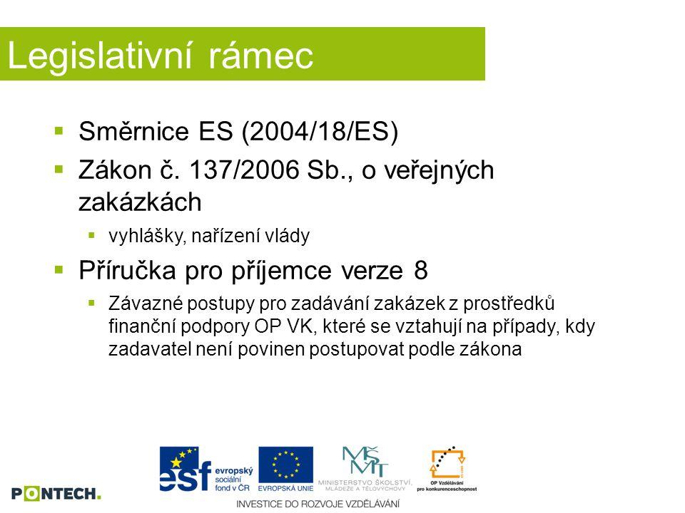 Legislativní rámec  Směrnice ES (2004/18/ES)  Zákon č. 137/2006 Sb., o veřejných zakázkách  vyhlášky, nařízení vlády  Příručka pro příjemce verze