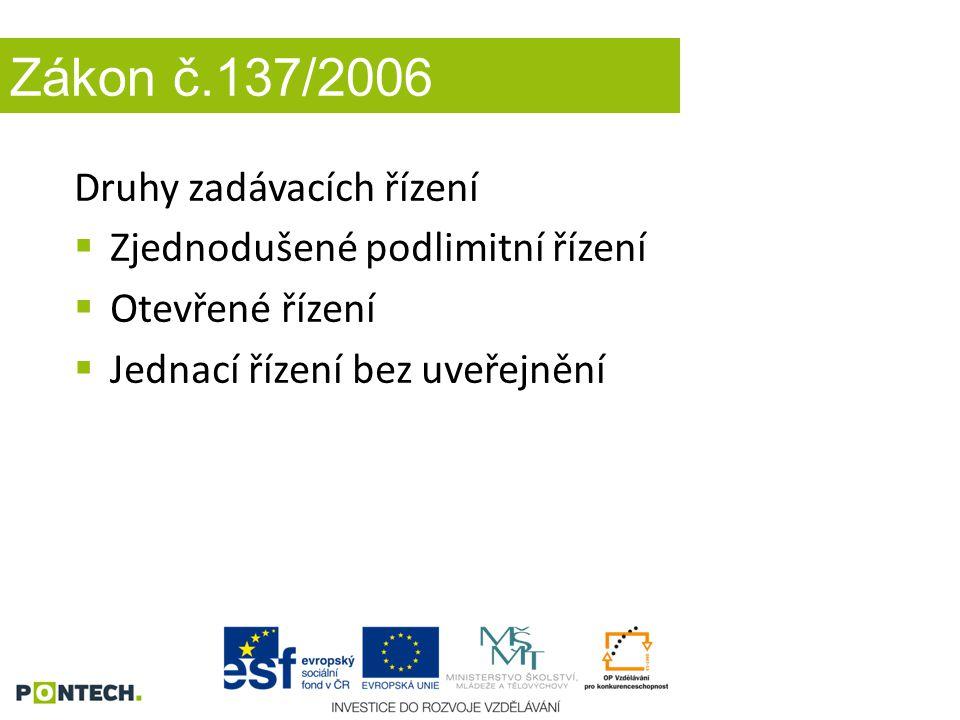 Zákon č.137/2006 Druhy zadávacích řízení  Zjednodušené podlimitní řízení  Otevřené řízení  Jednací řízení bez uveřejnění