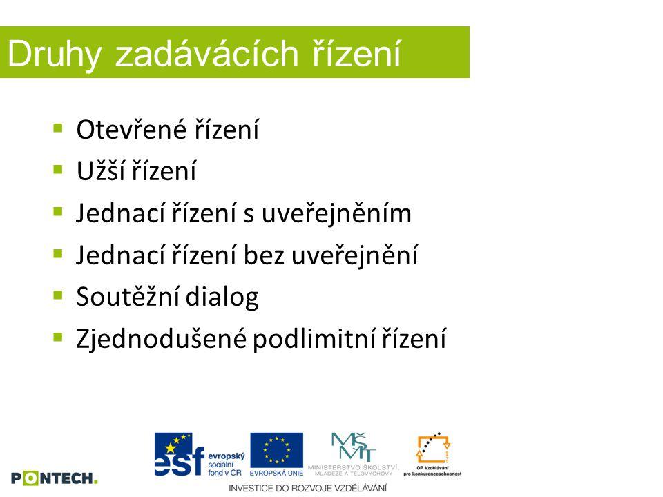 Druhy zadávácích řízení  Otevřené řízení  Užší řízení  Jednací řízení s uveřejněním  Jednací řízení bez uveřejnění  Soutěžní dialog  Zjednodušen
