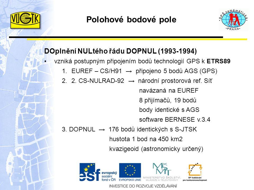 DOplnění NULtého řádu DOPNUL (1993-1994) vzniká postupným připojením bodů technologií GPS k ETRS89 1.EUREF – CS/H91 → připojeno 5 bodů AGS (GPS) 2.2.